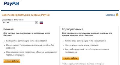 регистрация paypal