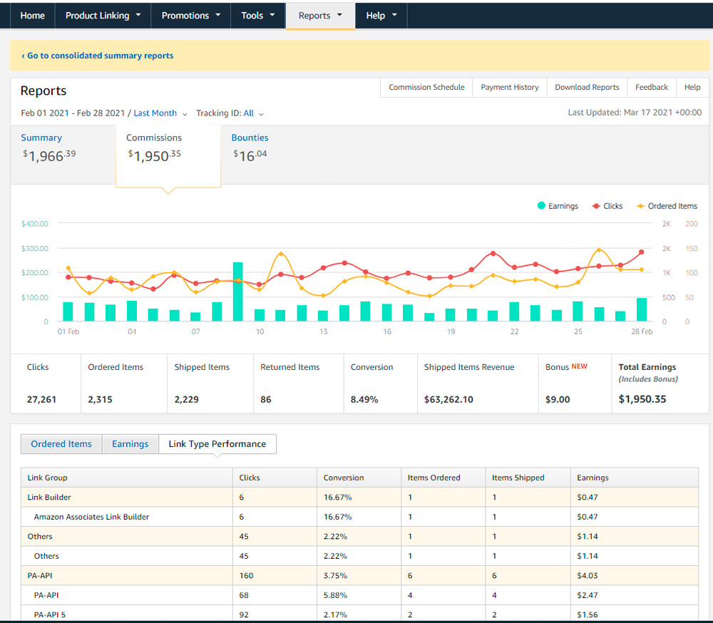 Amazon Affiliate Program - скриншот (март 2021)